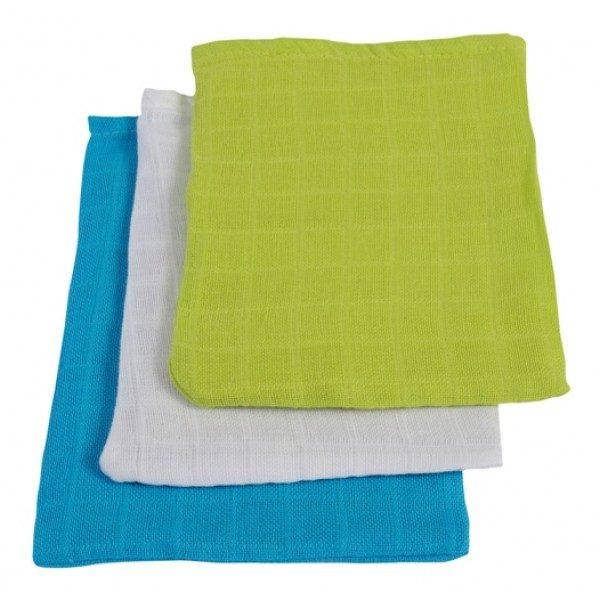 Jollein Hydrofiel washandjes soft lime/aqua/wit (3 stuks)