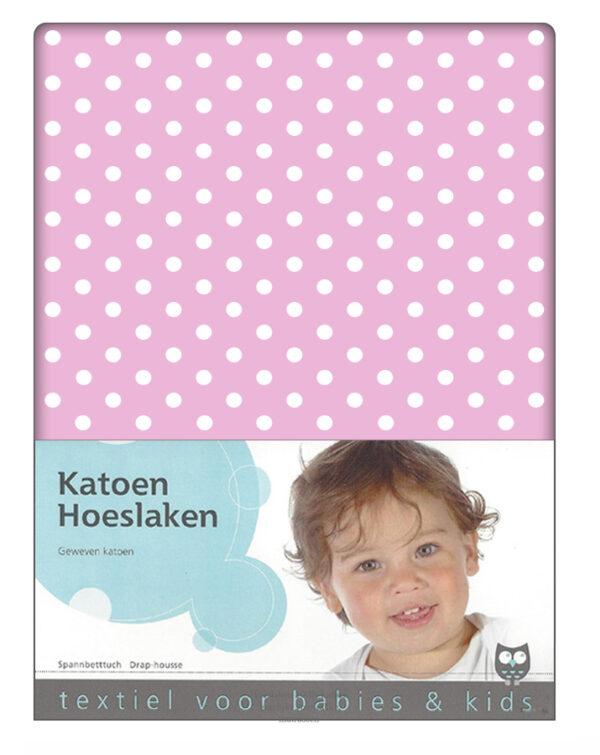 Hoeslaken Bea Polkadots Roze 60x120cm