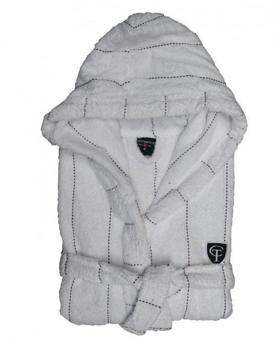 Cottonfield Badjas Stitched Stripe White maat XL