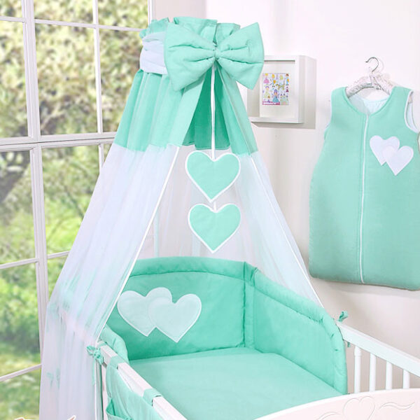 3-Delig Bedset Two Hearts Voile/Katoen Mint