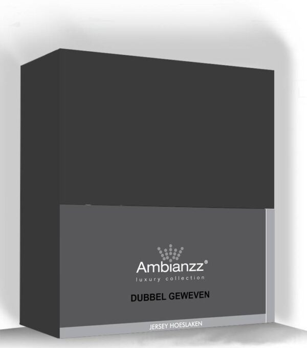 Ambianzz Hoeslaken jersey dubbel geweven Antraciet 90x200cm