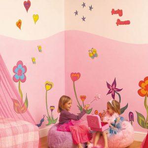 Muurstickers Funky Flowers Room make over kit