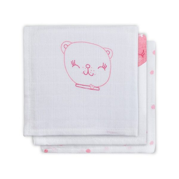 Hydrofiel Monddoekje FUNNY BEAR pink (3 stuks)