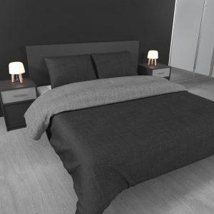 A-Keuze - Ambianzz Cotton Satin Uni Linnenlook Antraciet/Grey-240 x 200/220 cm