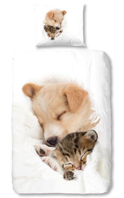 Dekbedovertrek Hond en Kat Slapend