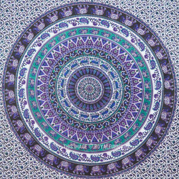 Grand Foulard Elephant Mandala Bleu
