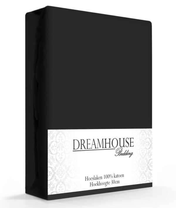 A-Keuze - Dreamhouse Hoeslaken Katoen Zwart -200 x 220 cm