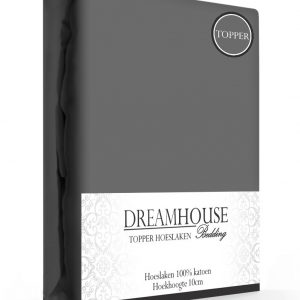 A-Keuze - Dreamhouse Topper Hoeslaken Katoen Antraciet-90 x 220 cm