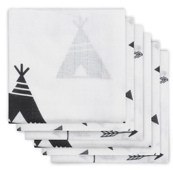 Jollein Hydrofiel Luier Indians Black & White (3 stuks)