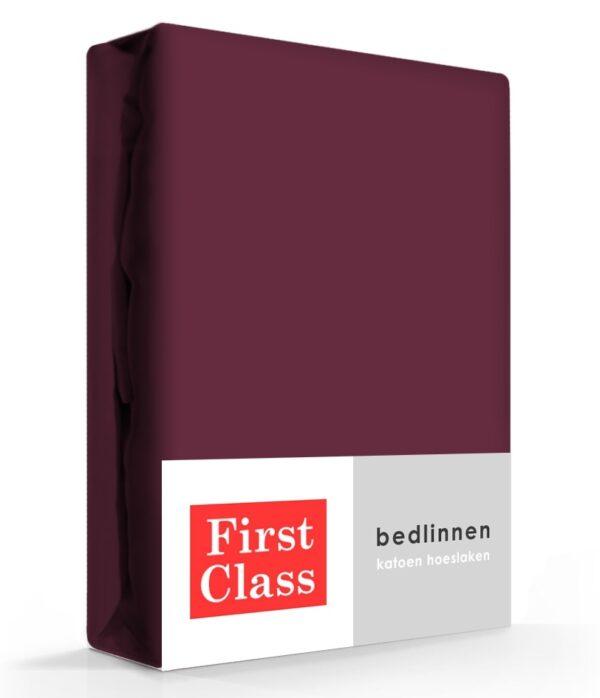 First Class Hoeslaken Katoen Aubergine 90 x 220 cm