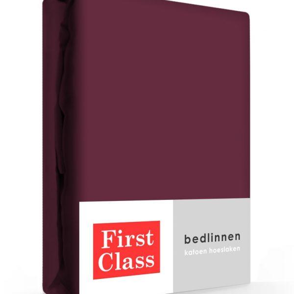 First Class Hoeslaken Katoen Aubergine 180 x 200 cm