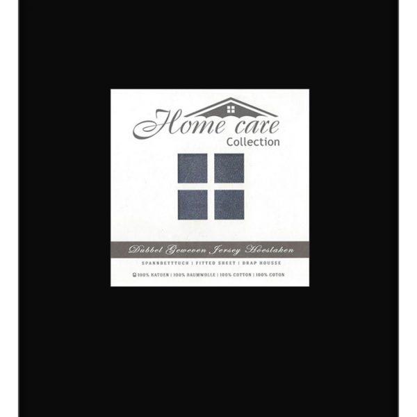 A-Keuze - Dubbel Geweven Hoeslaken Zwart Home Care -140 x 200/220 cm