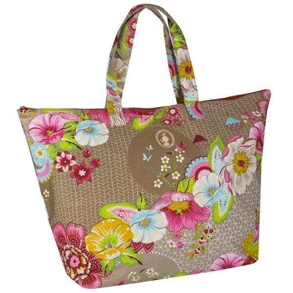 PiP Studio Beachbag Swinging Flowers Khaki
