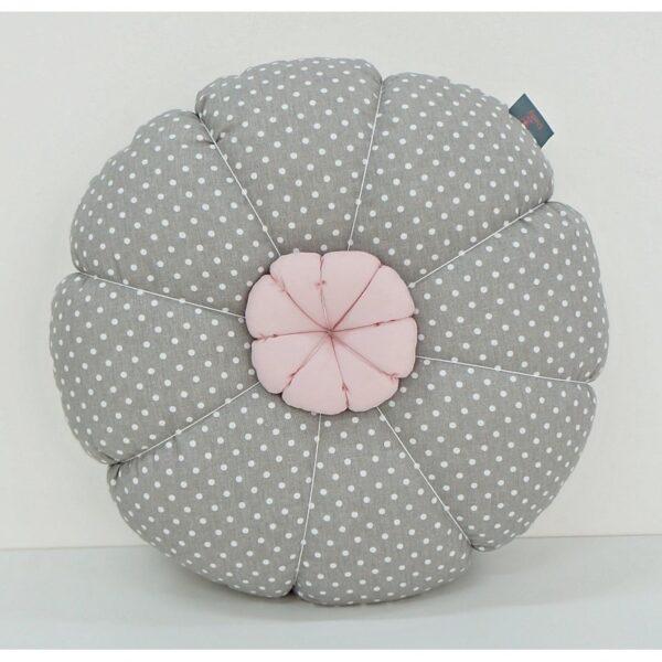Bloemen Kussen Dots/Grijs Dolly
