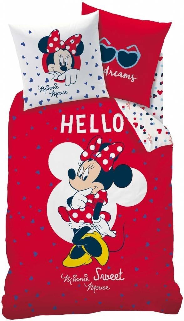 Disney Minnie Mouse dekbedovertrek Hello Rood