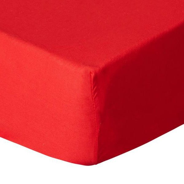 Jersey Hoeslaken Dubbel Geweven Rood 90x200cm