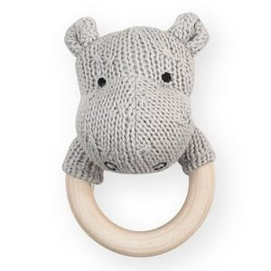 Jollein Rammelaar Bijtring Ø 7cm Hippo Soft Knit Light Grey