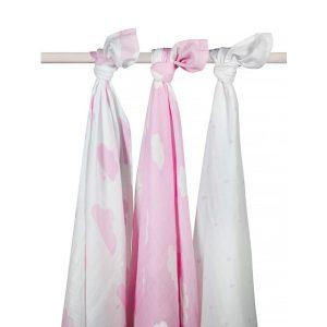Jollein Hydrofiel multidoek 115x115cm Clouds pink (3pack)
