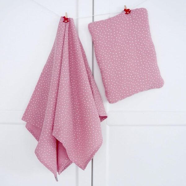 Hydrofiele Omslagdoek Dots Poederroze Dolly