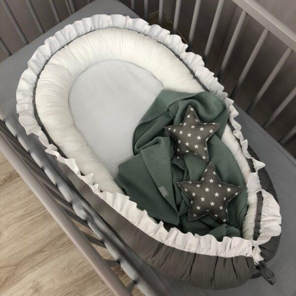 Babynestje Ruches Antraciet/Wit Dolly