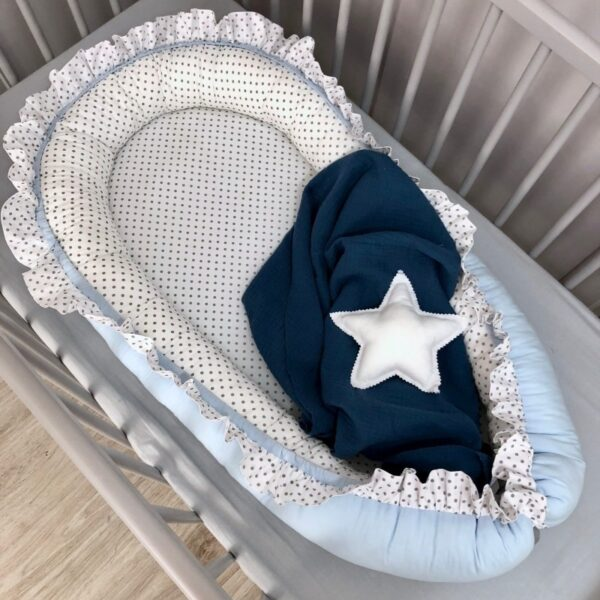 Babynestje Ruches Dots Lichtblauw/Wit Dolly