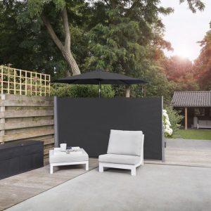 909 Outdoor Oprolbaar Windscherm Zwart - 170 x 300 cm