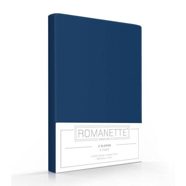 1+1 Gratis - Romanette Kussenslopen - Navy Romanette - Ga naar Dekbed-Discounter.nl & Profiteer Nu