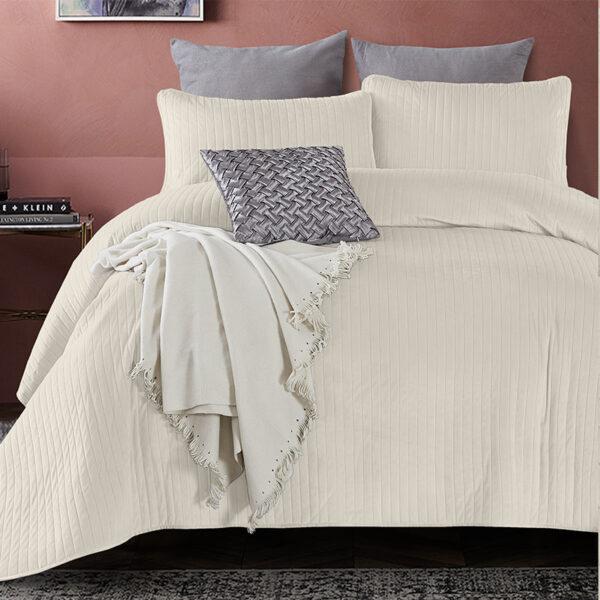 Bedsprei - Texas - Creme DreamHouse Bedding Effen 180 x 250 + 1 kussensloop - Ga naar Dekbed-Discounter.nl & Profiteer Nu