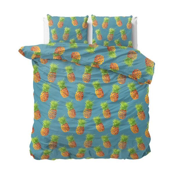 Sleeptime Elegance Pineapples - Blauw 1-persoons (140 x 220 cm + 1 kussensloop) Dekbedovertrek